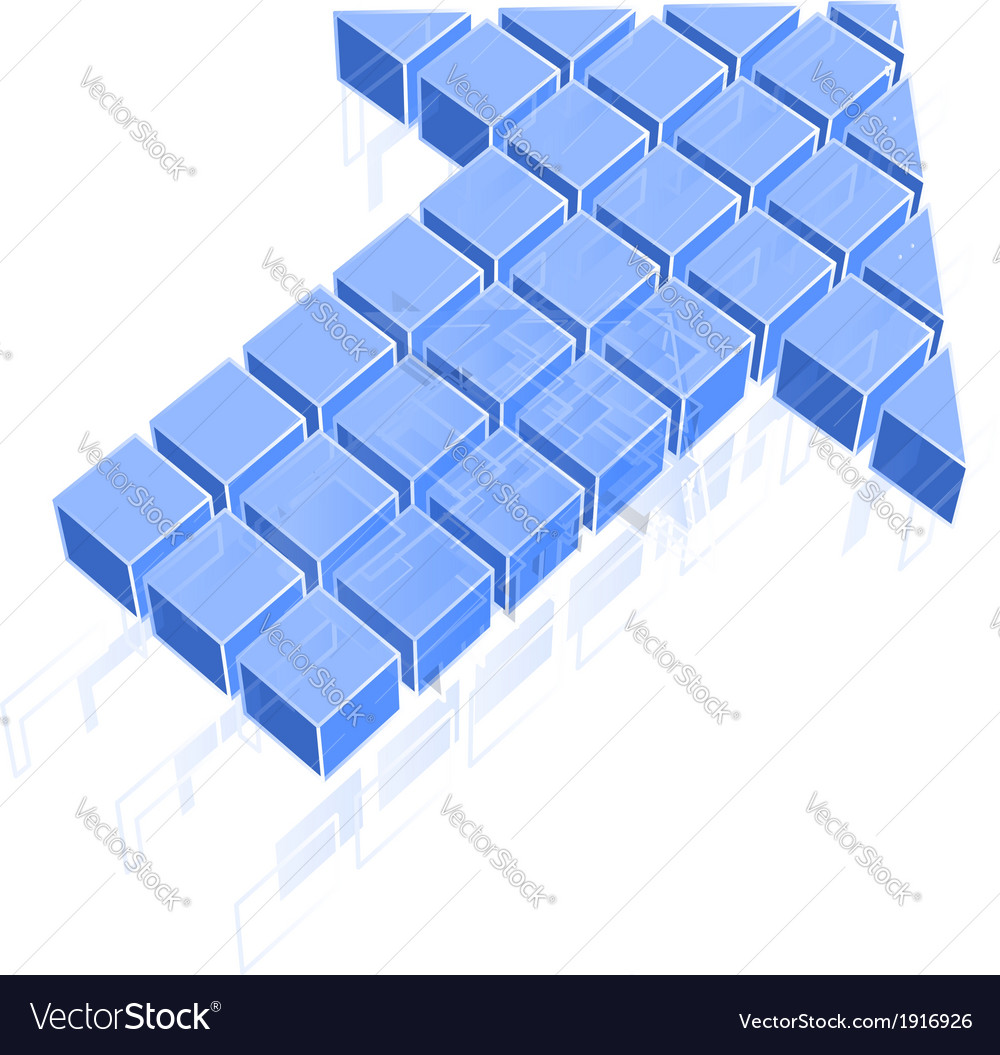 Arrow icon made of blue cubes vector | Price: 1 Credit (USD $1)
