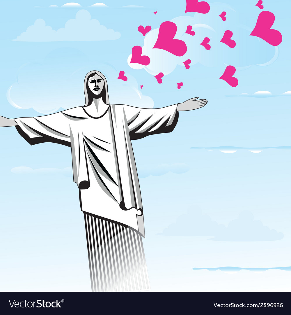Brazil love god christ the redeemer statue vector | Price: 1 Credit (USD $1)