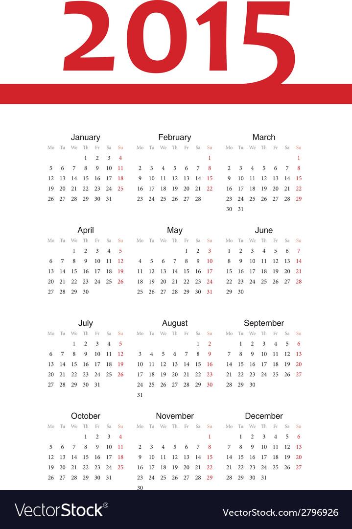 European 2015 year calendar vector | Price: 1 Credit (USD $1)