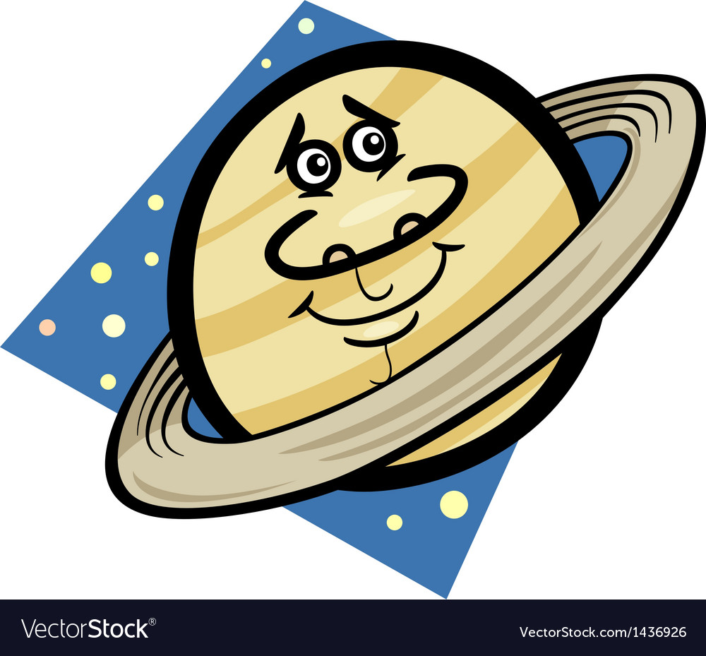 Funny saturn planet cartoon vector | Price: 1 Credit (USD $1)