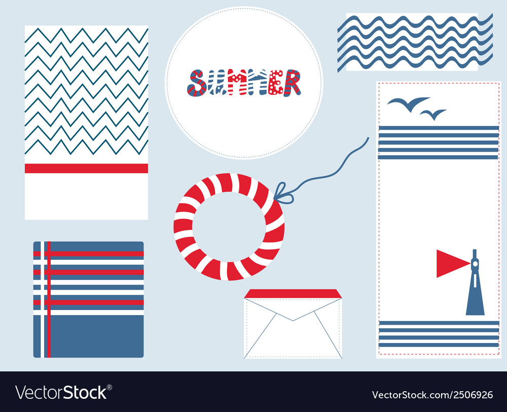Marine design backgrouns set for summer vector | Price: 1 Credit (USD $1)