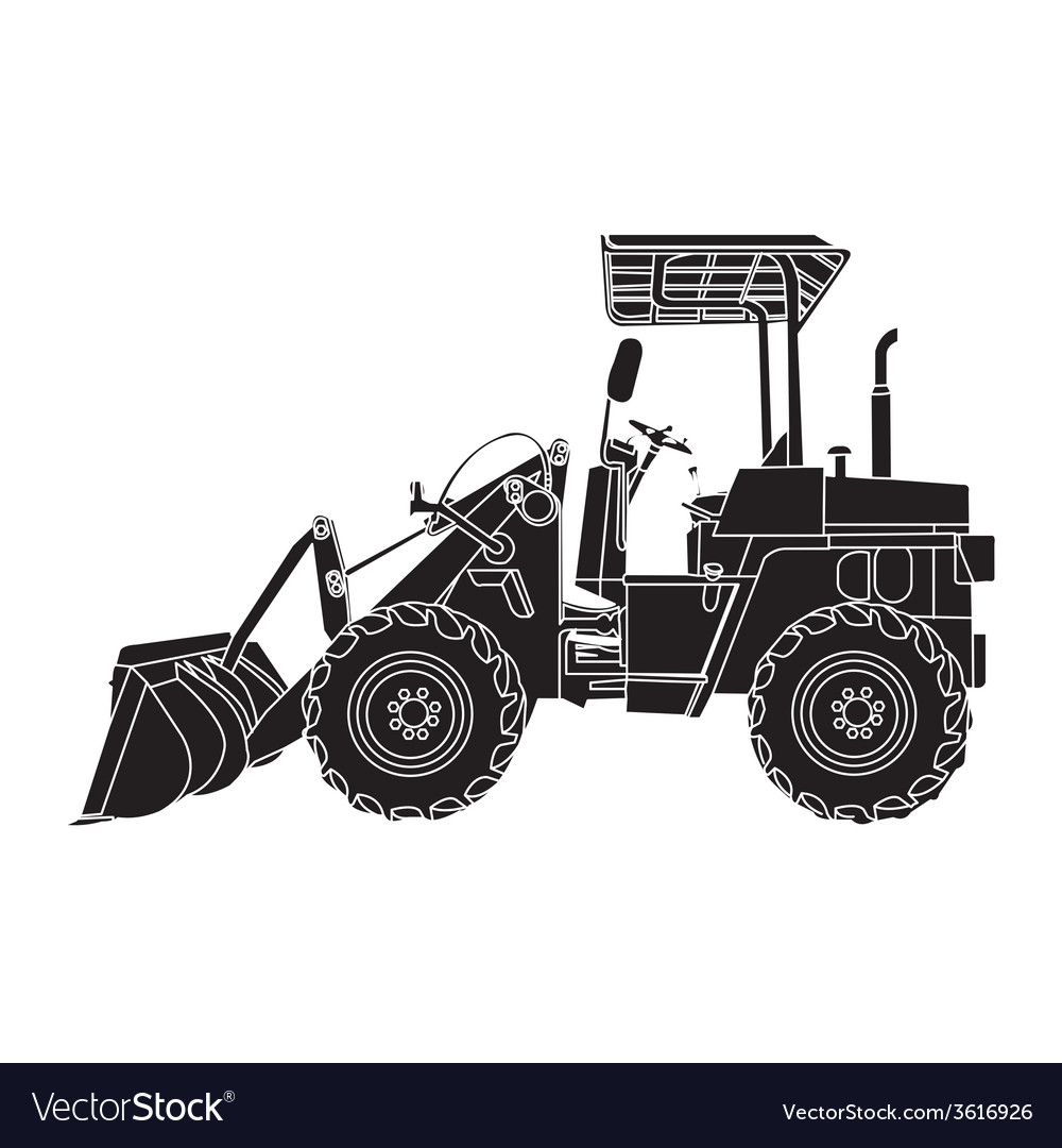 Silhouette of wheeled tractor vector | Price: 1 Credit (USD $1)