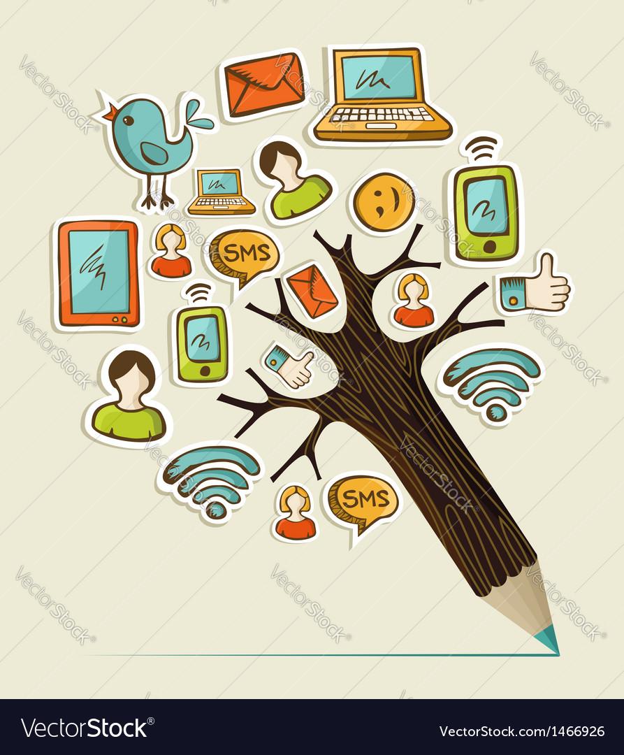Social pencil tree vector | Price: 1 Credit (USD $1)