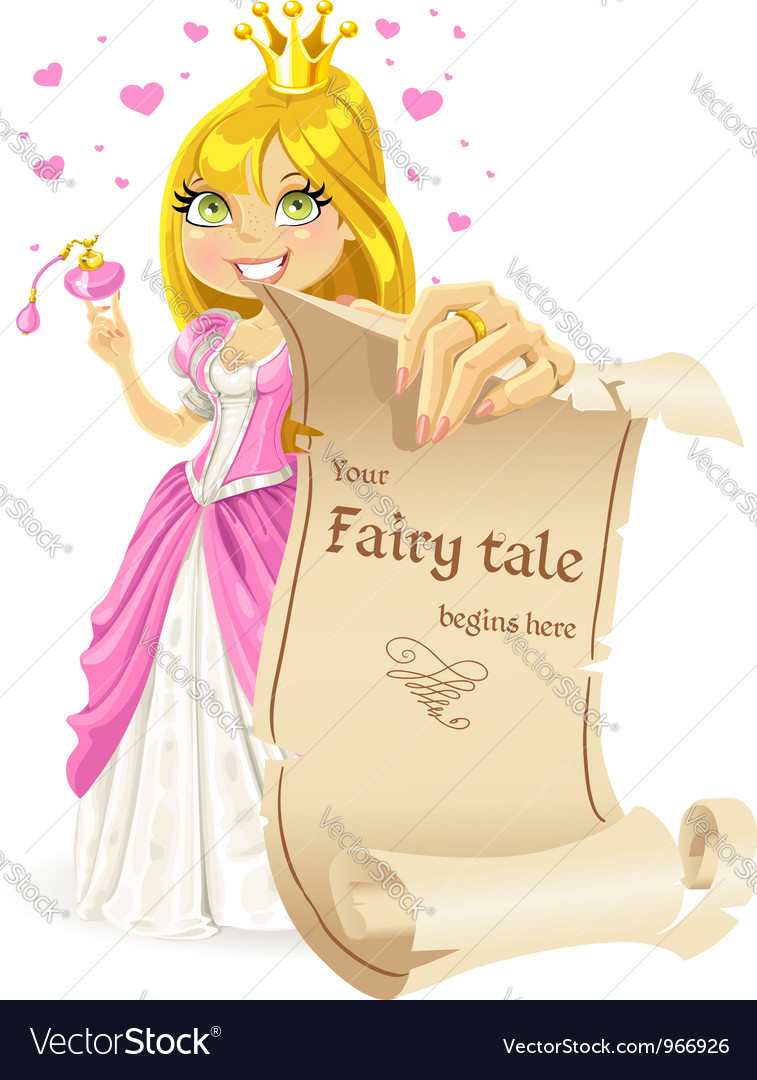 Sweetheart princess with banner -your fairy tale vector | Price: 5 Credit (USD $5)