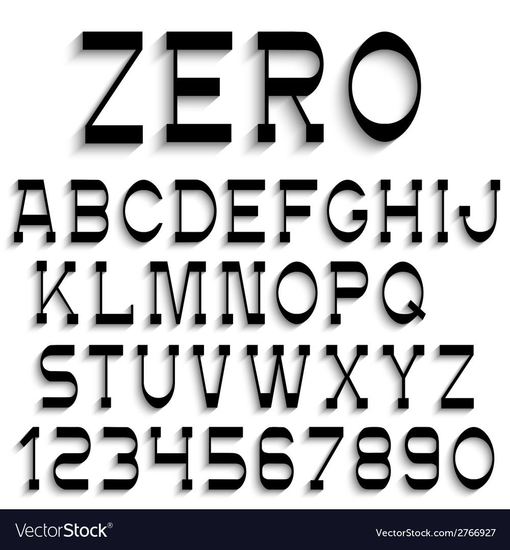 Black alphabet letters and numbers with shadow vector | Price: 1 Credit (USD $1)