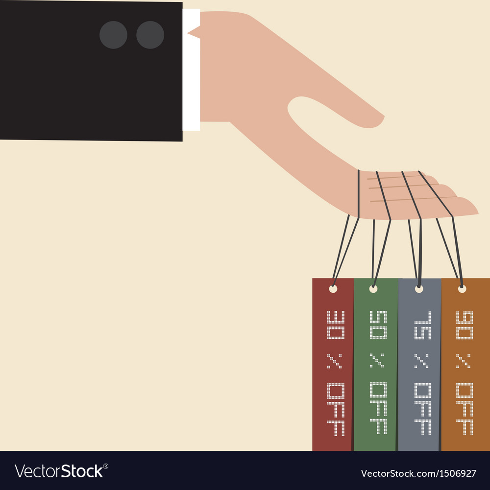 Businessman hand hang with discount tag vector | Price: 1 Credit (USD $1)