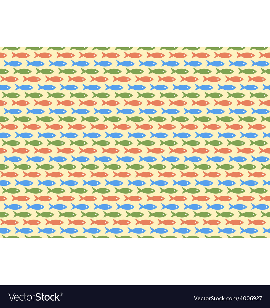Seamless sea pattern multicolor fishes on yellow vector | Price: 1 Credit (USD $1)