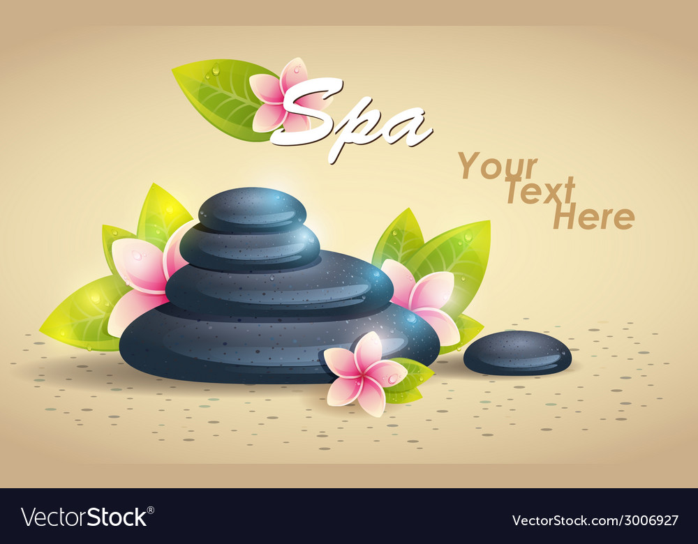 Spa background of black pebble and small flowers vector | Price: 1 Credit (USD $1)