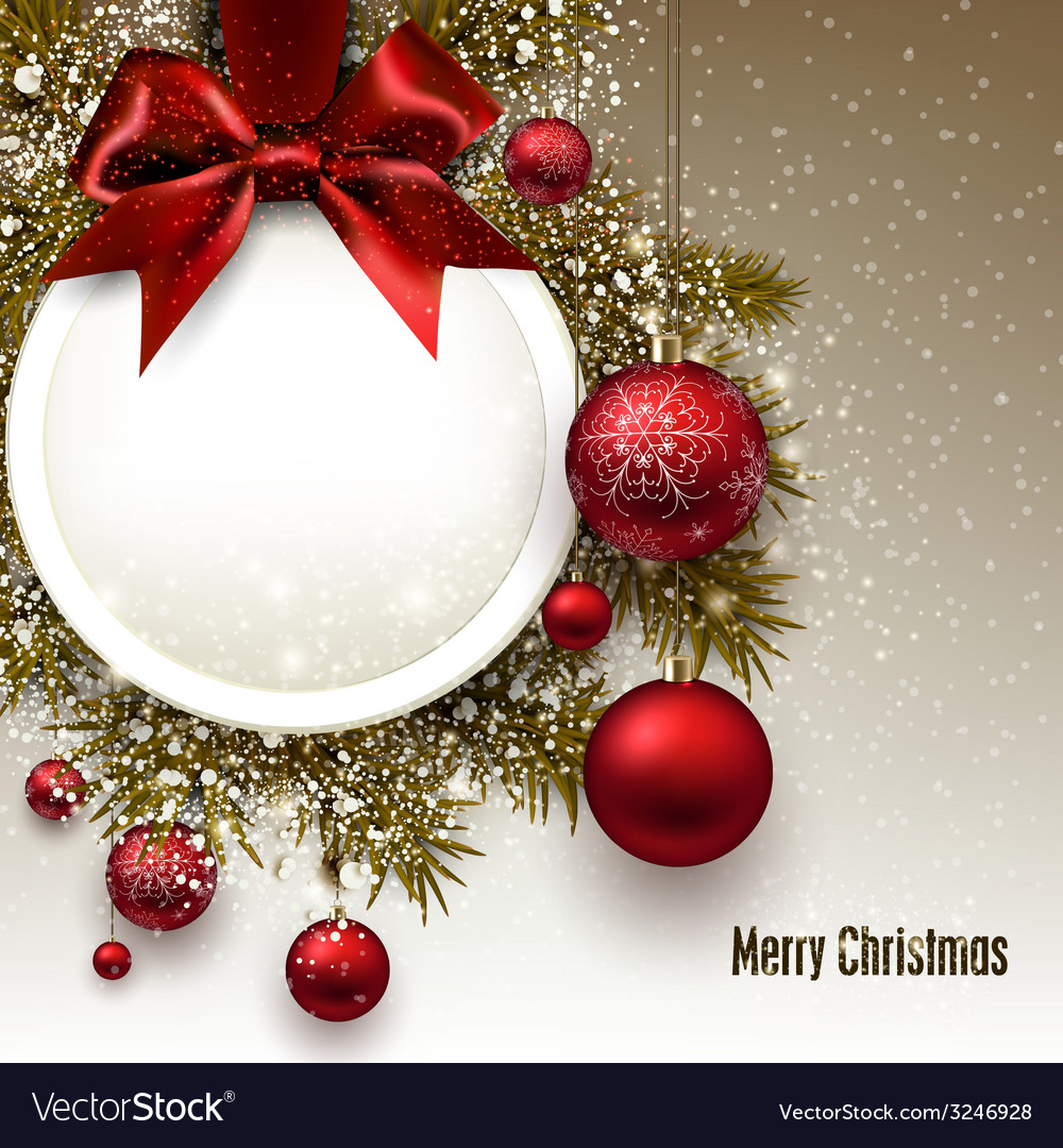 Christmas gift card with red ribbon and red vector | Price: 3 Credit (USD $3)