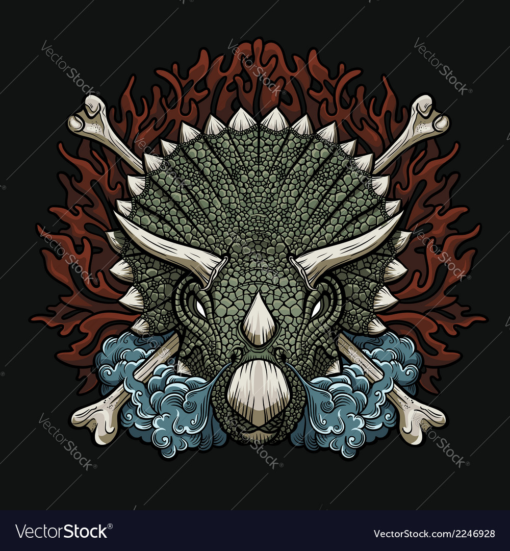 Furious triceratops vector | Price: 3 Credit (USD $3)