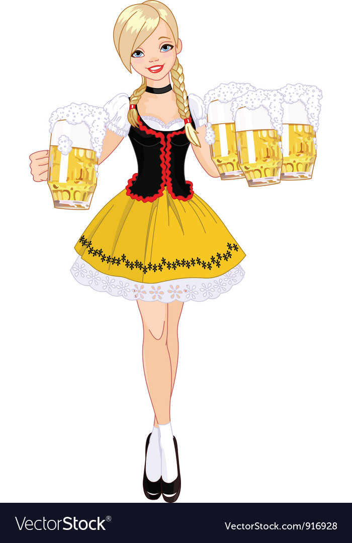 German girl serving beer vector | Price: 3 Credit (USD $3)