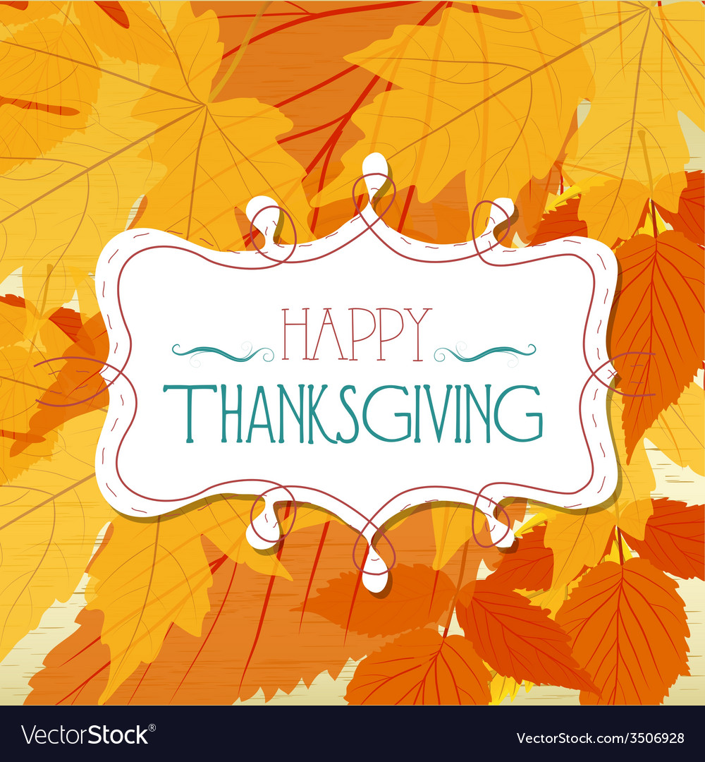 Happy thankgiving with leaves greeting card vector | Price: 1 Credit (USD $1)