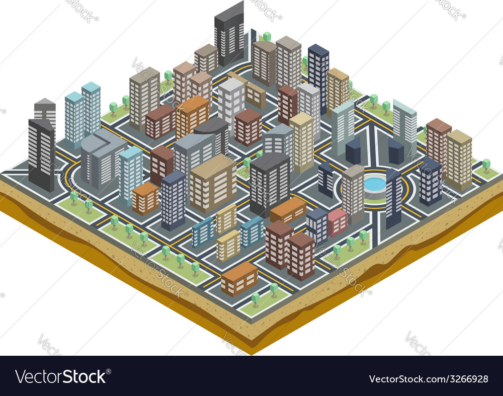 Isometric city map vector | Price: 1 Credit (USD $1)