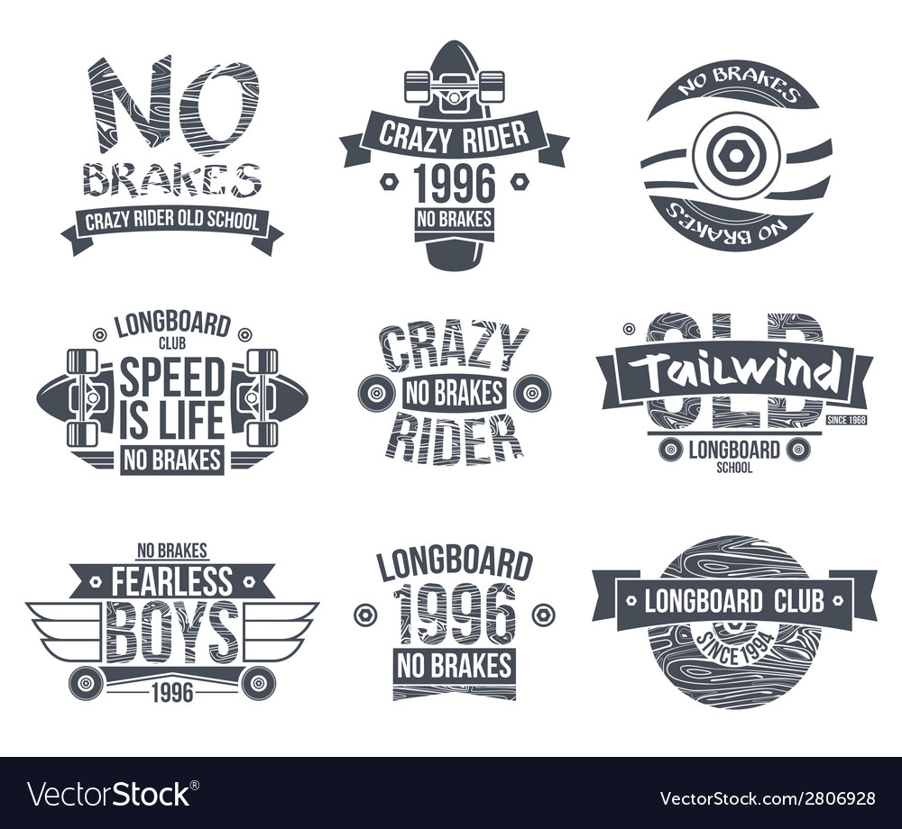 Longboard club emblems vector | Price: 1 Credit (USD $1)