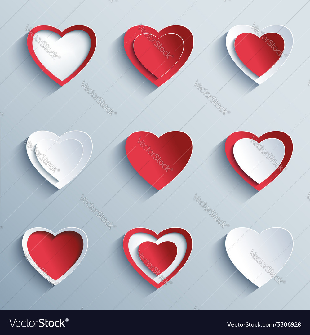Set of paper hearts design element valentines day vector | Price: 3 Credit (USD $3)