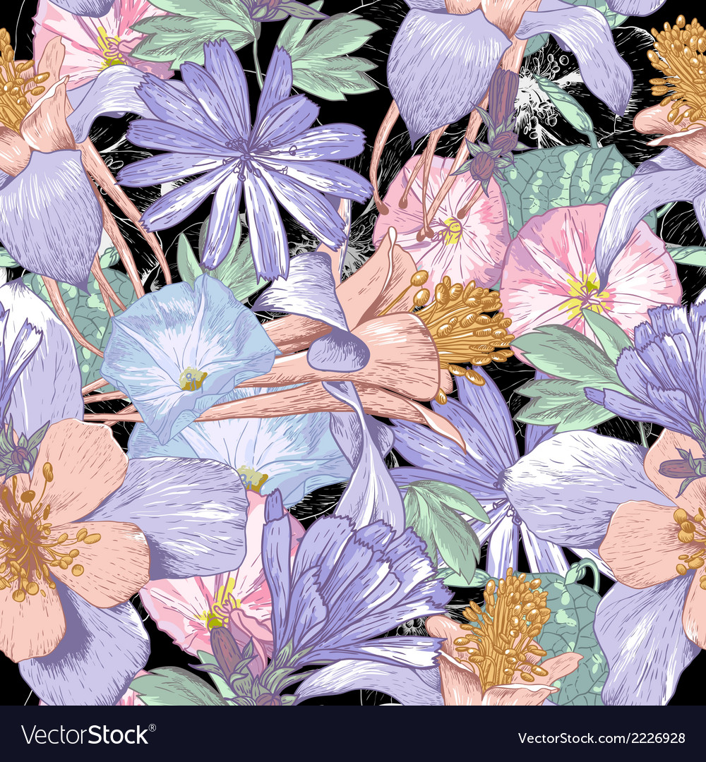 Summer seamless pattern with wildflowers vector | Price: 1 Credit (USD $1)