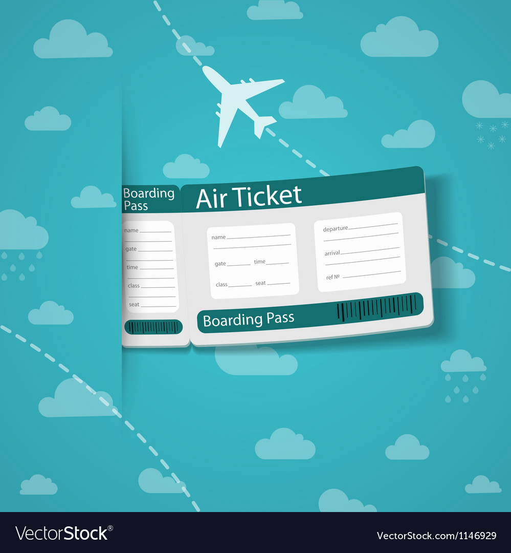 Air ticket on sky background vector | Price: 1 Credit (USD $1)