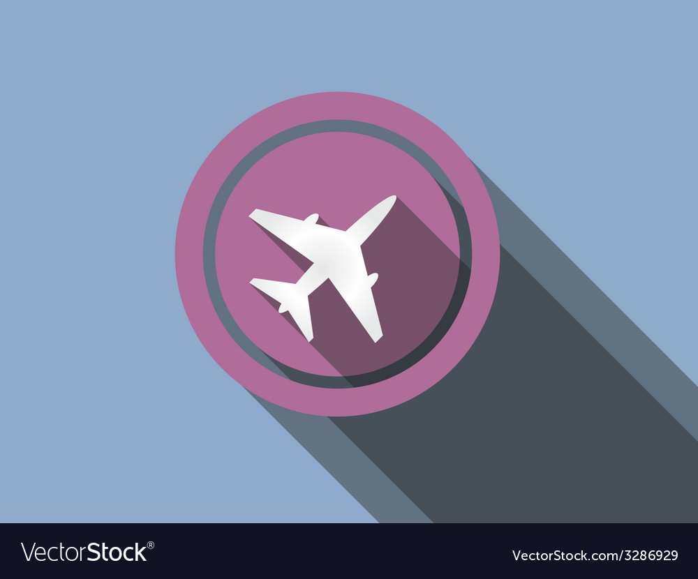 Airplane flat icon on a blue background vector | Price: 1 Credit (USD $1)