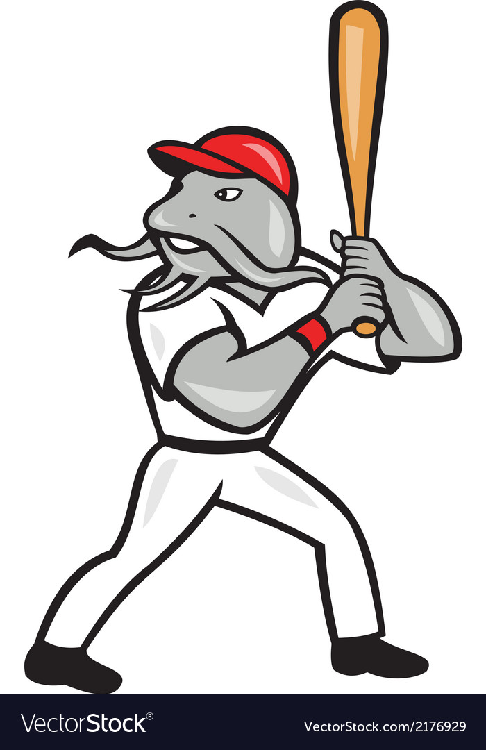 Catfish baseball hitter batting full isolated vector | Price: 1 Credit (USD $1)