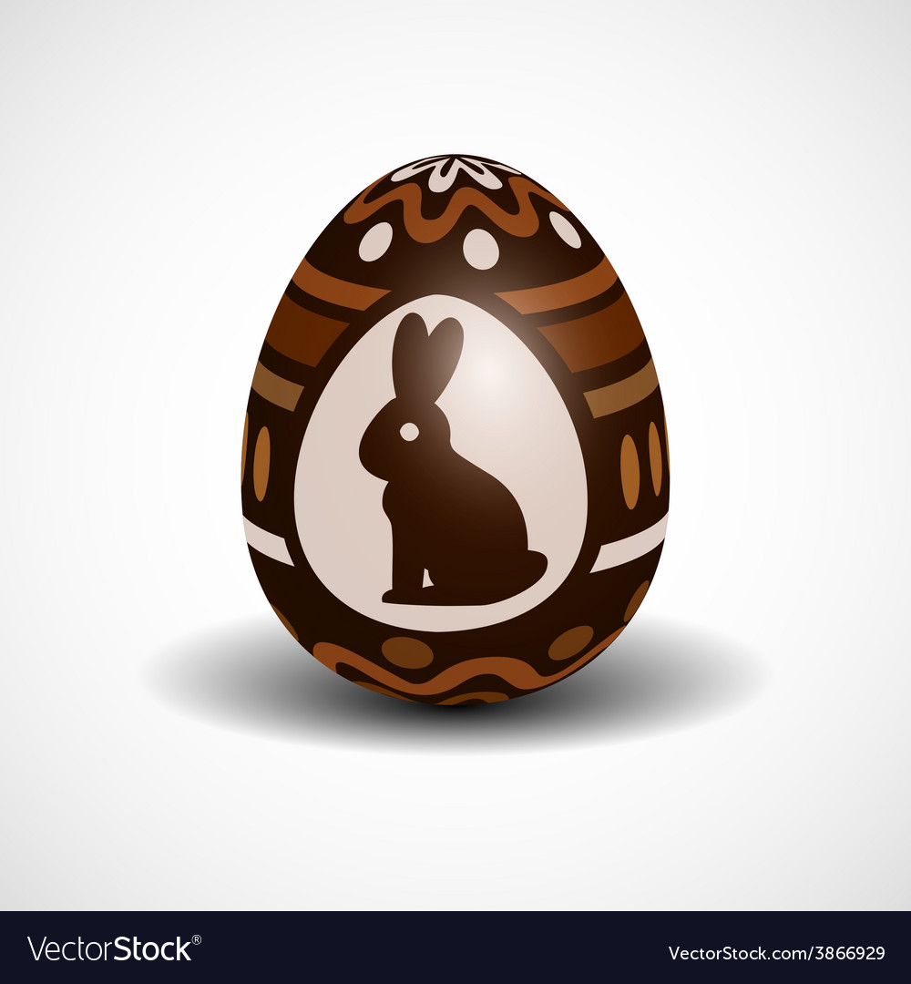 Chocolate easter egg with ornament and rabbit vector | Price: 1 Credit (USD $1)