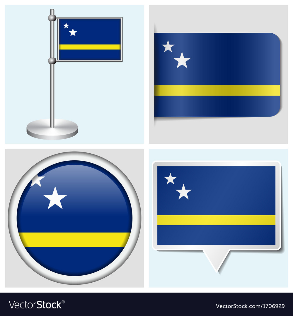 Curacao flag - sticker button label flagstaff vector | Price: 1 Credit (USD $1)