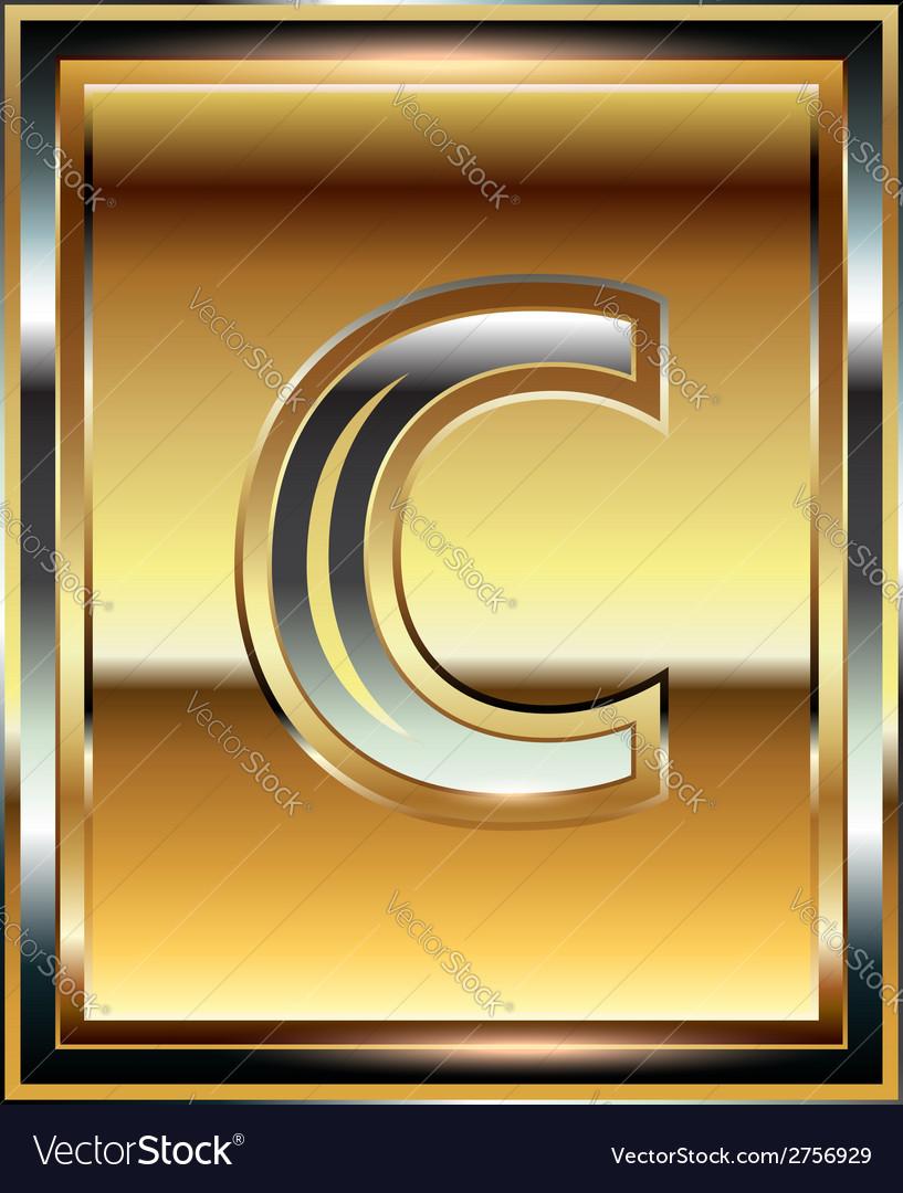 Ingot font letter c vector | Price: 1 Credit (USD $1)