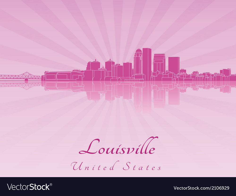 Louisville skyline in purple radiant orchid vector | Price: 1 Credit (USD $1)