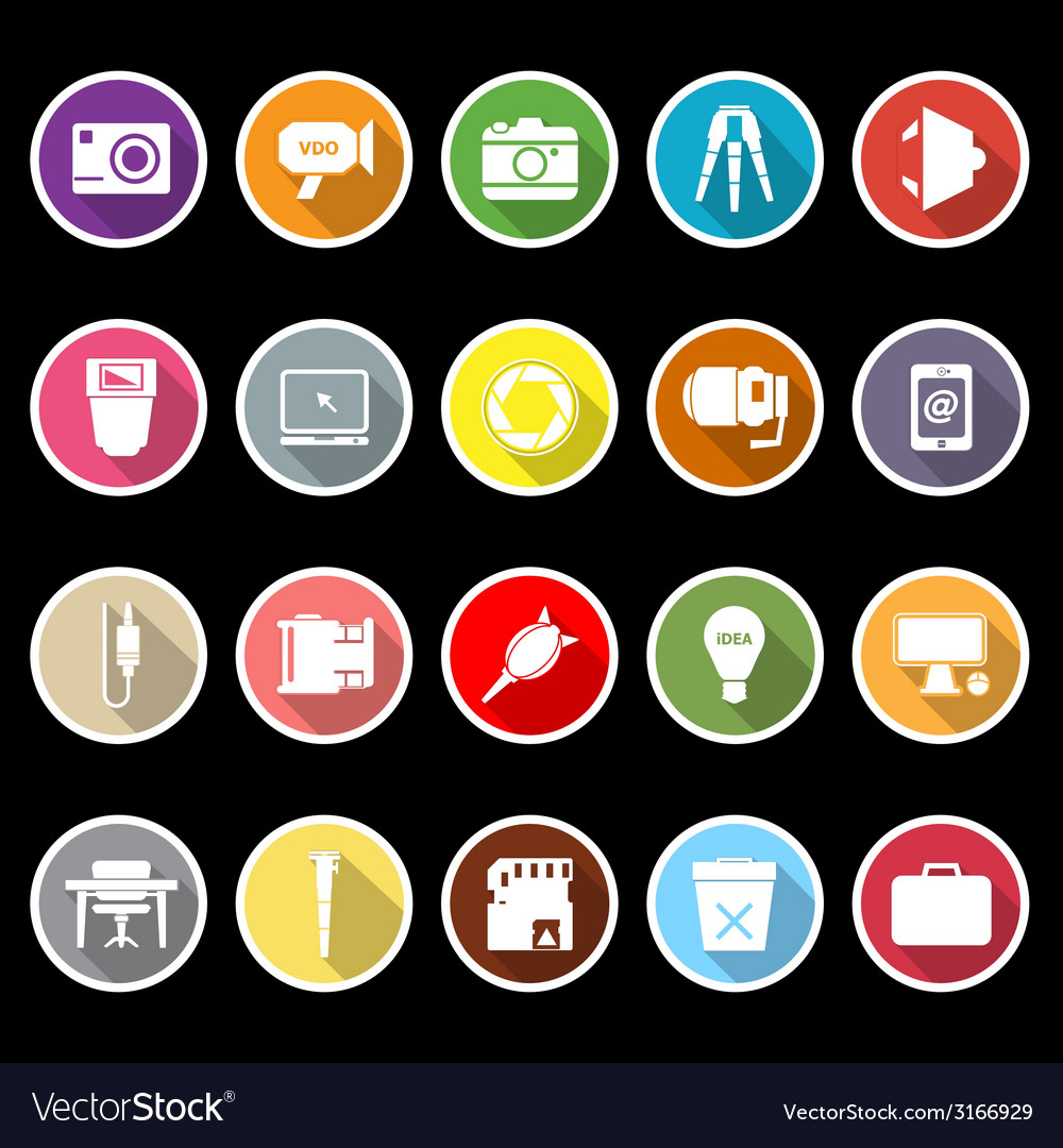 Photography related item flat icons with long vector | Price: 1 Credit (USD $1)
