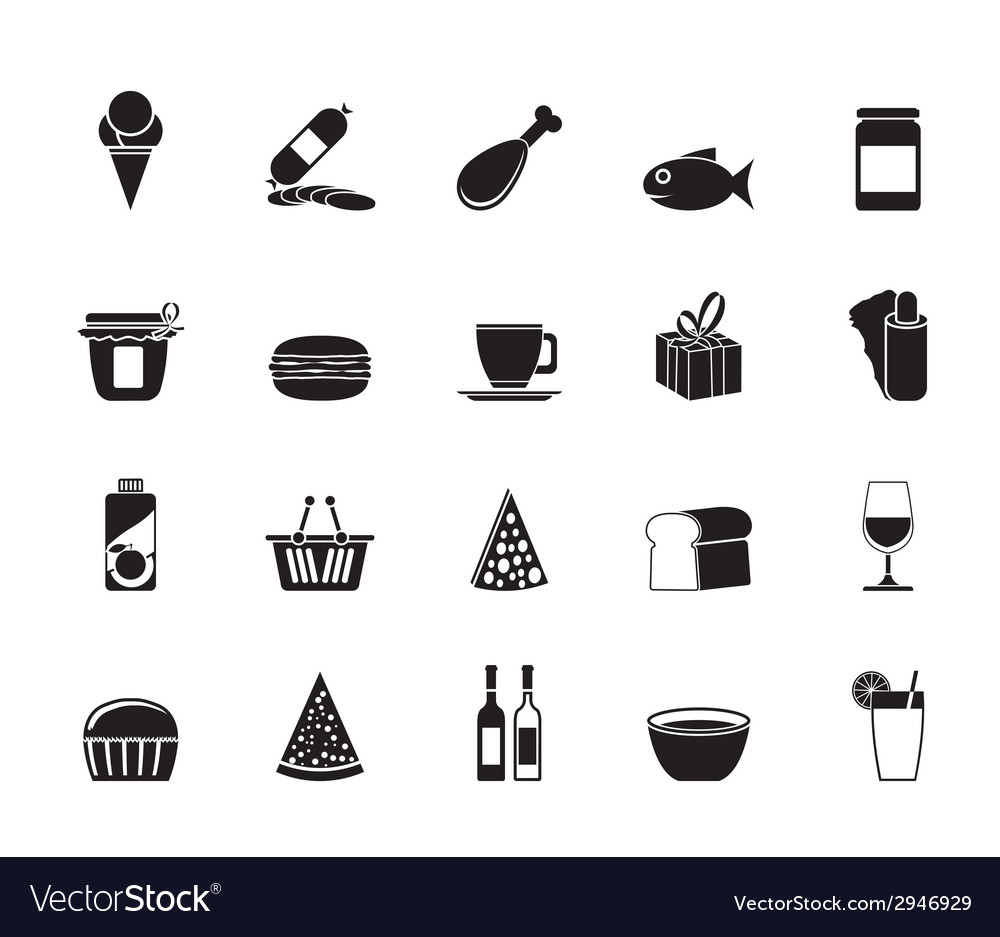 Silhouette shop and foods icons vector | Price: 1 Credit (USD $1)