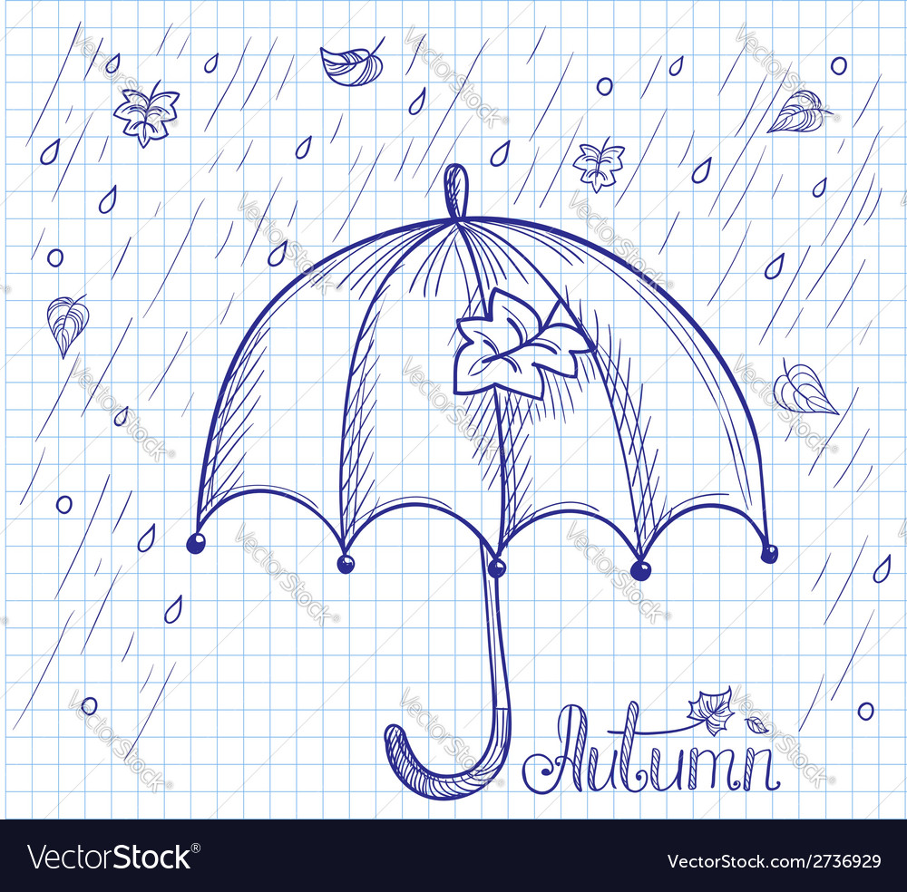 Sketch of an umbrella in the rain vector | Price: 1 Credit (USD $1)