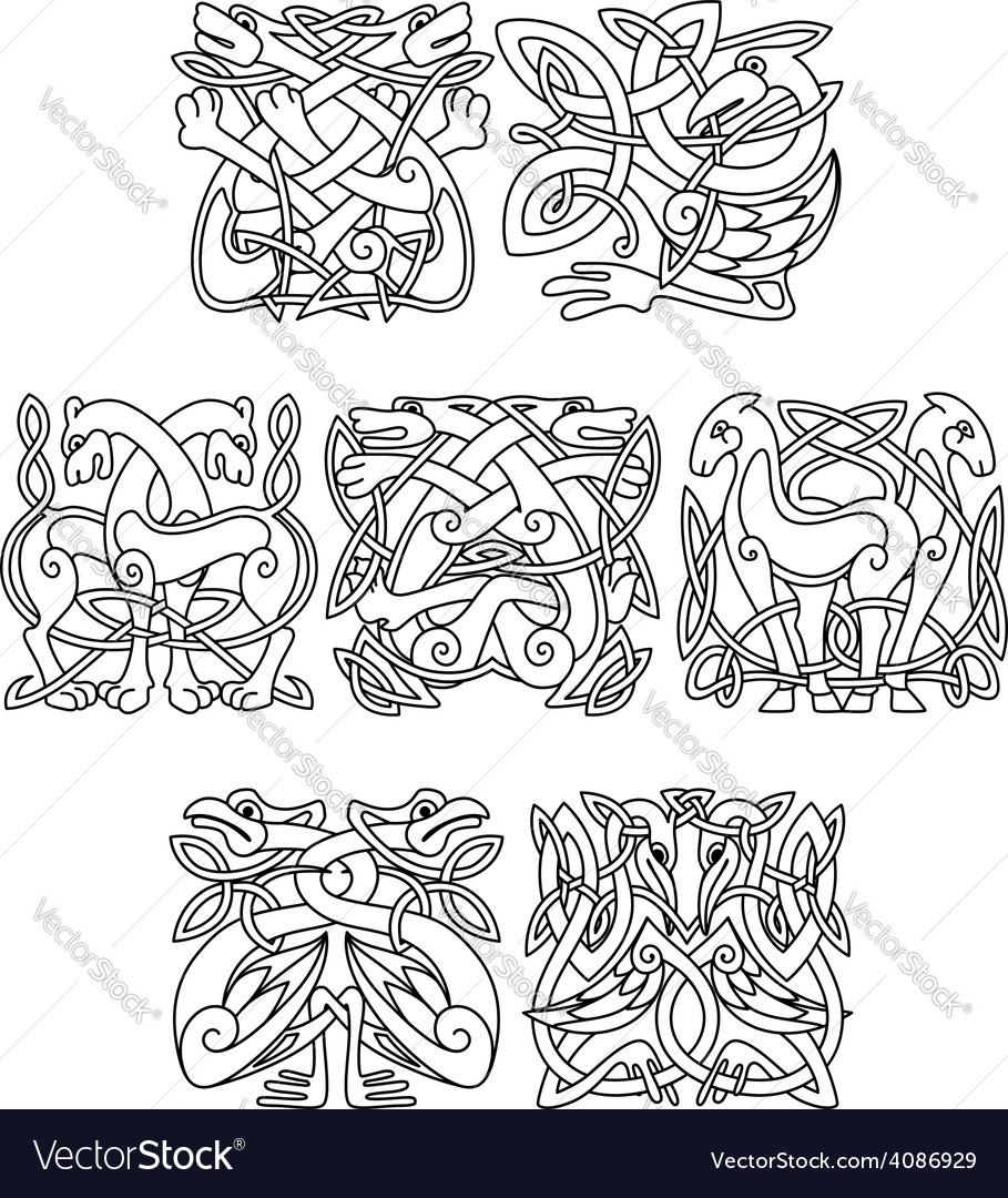 Stork crane and heron birds celtic ornaments vector