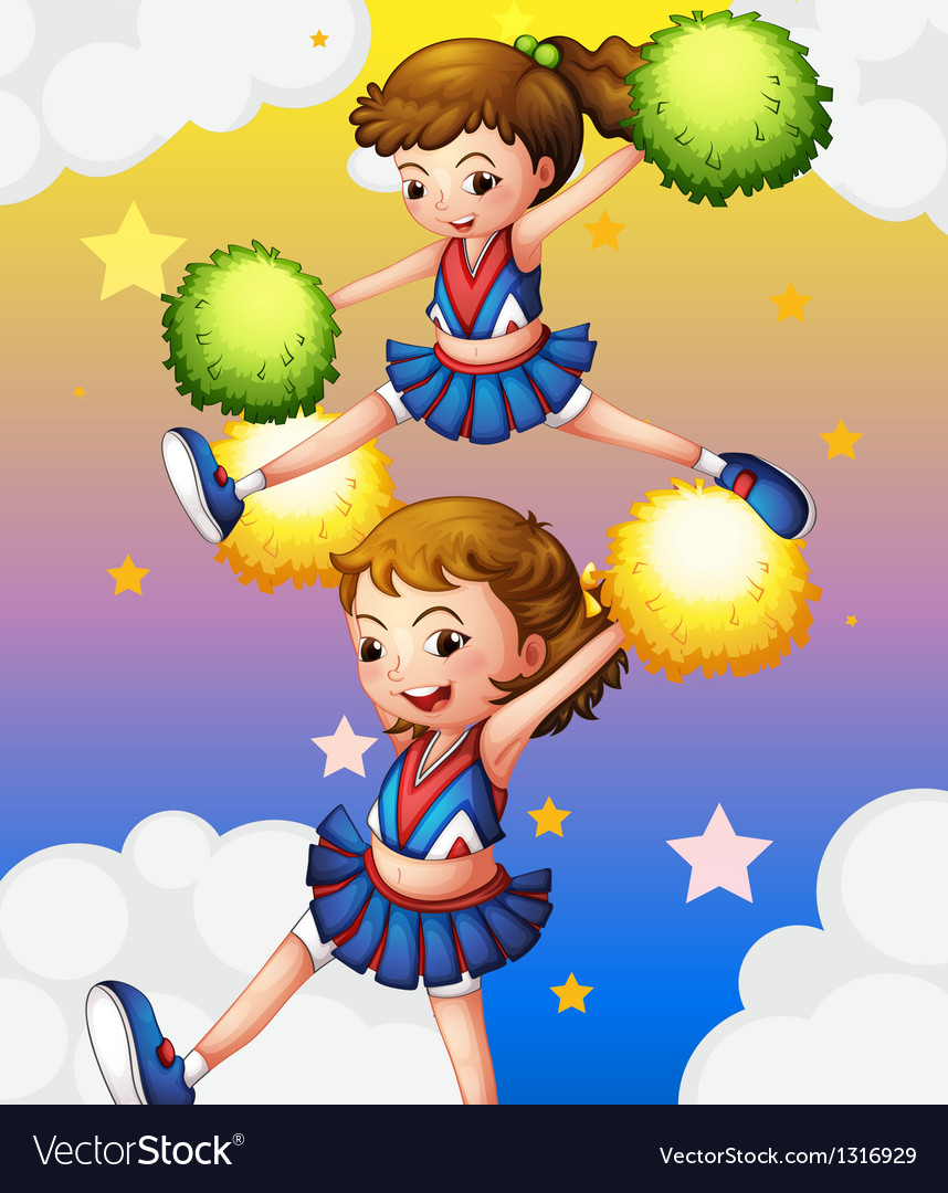 Two cheerdancers with their pompoms vector | Price: 1 Credit (USD $1)
