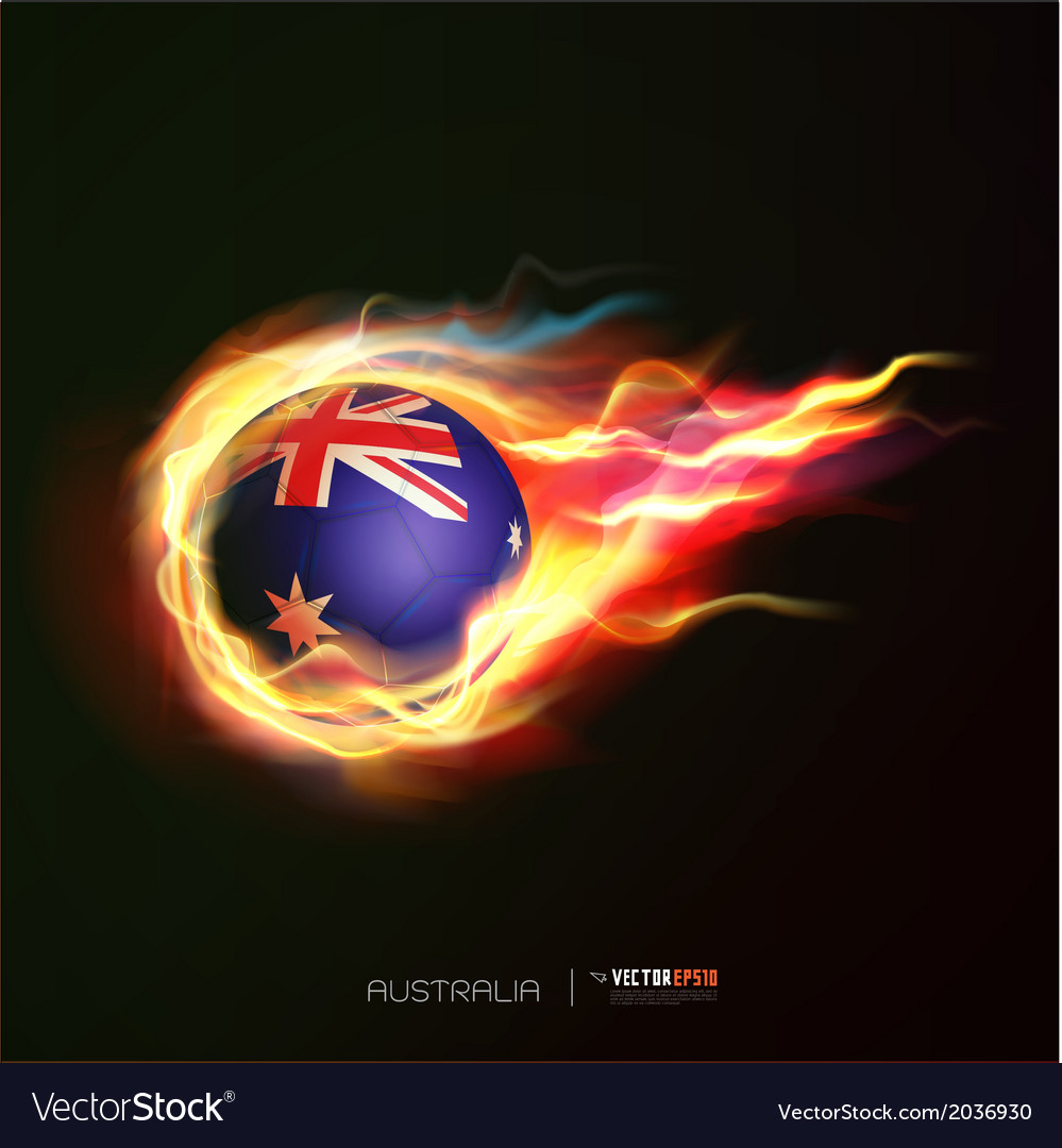 Australia flag with flying soccer ball on fire vector | Price: 1 Credit (USD $1)