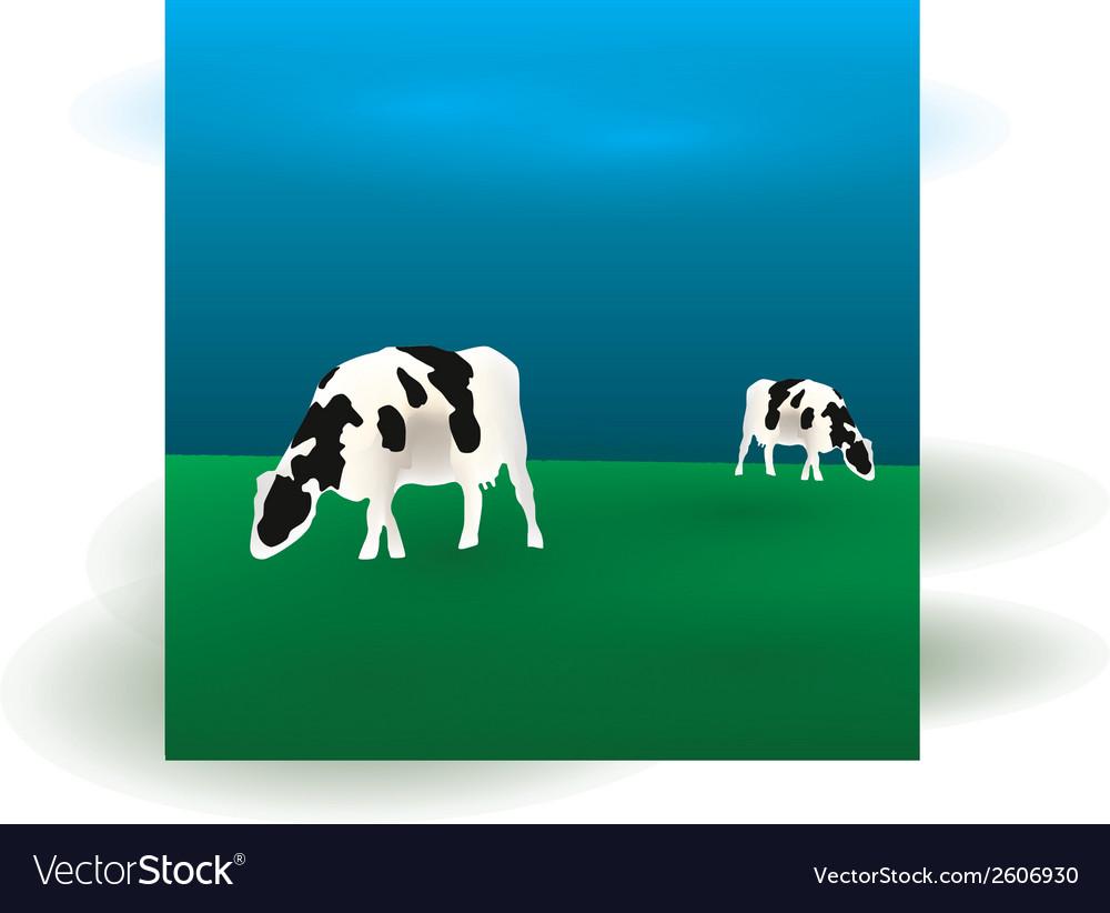 Cows graze eps10 vector | Price: 1 Credit (USD $1)