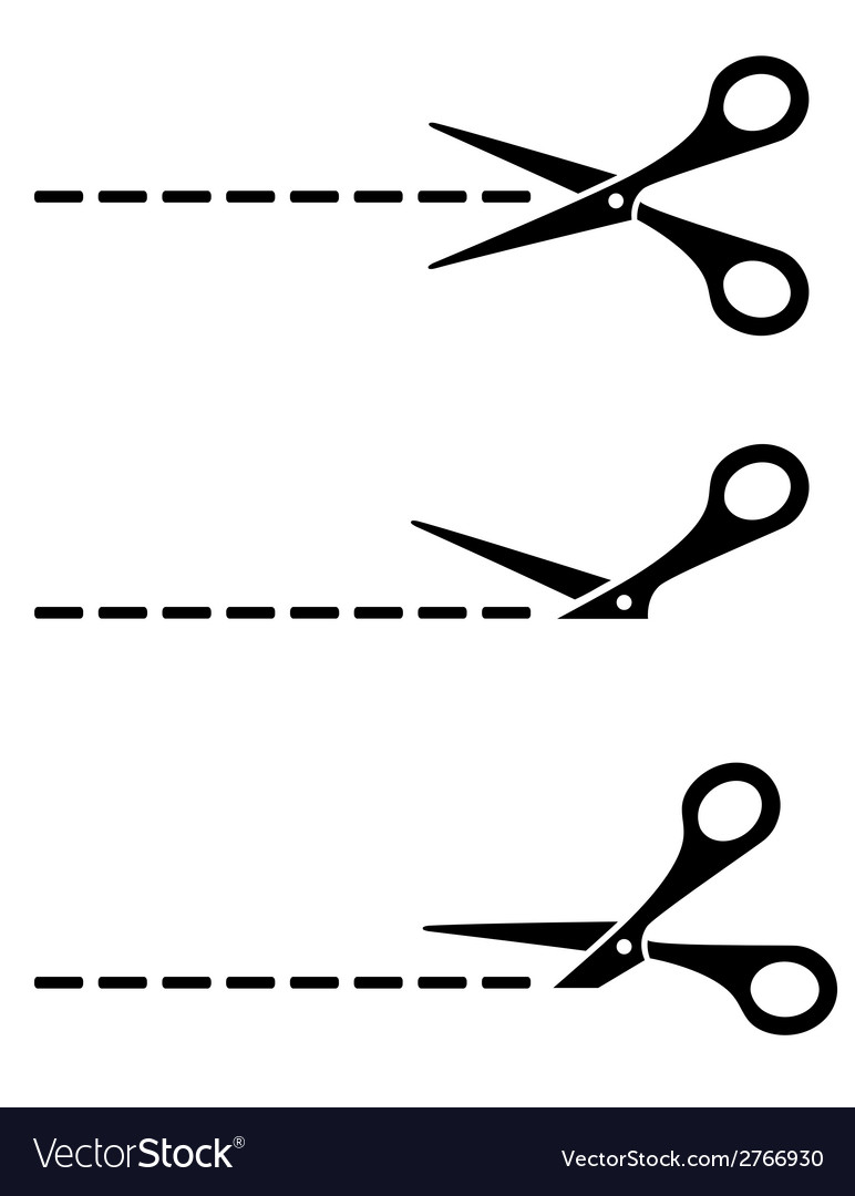 Cut lines with scissors vector | Price: 1 Credit (USD $1)