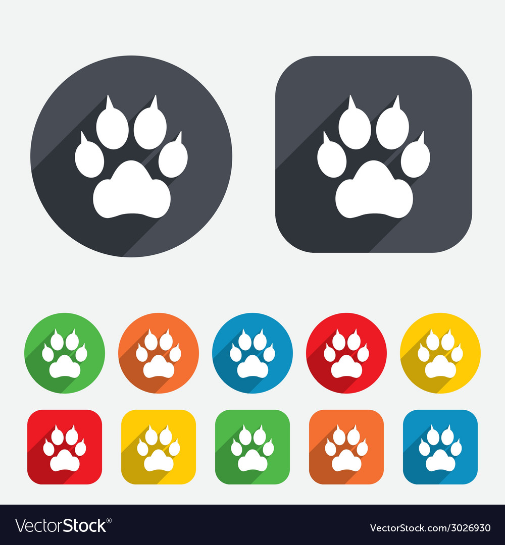 Dog paw with clutches sign icon pets symbol vector | Price: 1 Credit (USD $1)