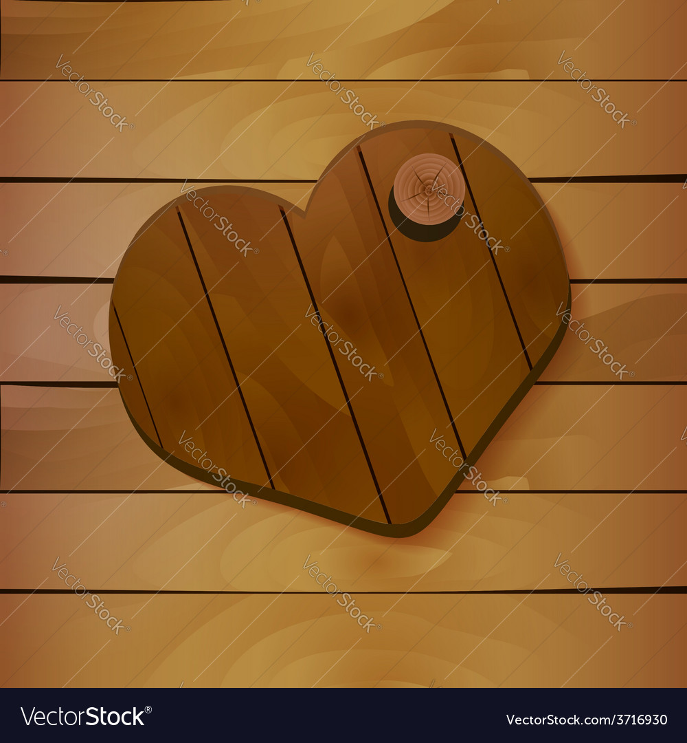 Heart on wooden background vector | Price: 1 Credit (USD $1)