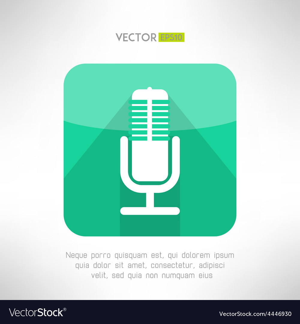 Radio station microphone icon in modern flat vector | Price: 1 Credit (USD $1)