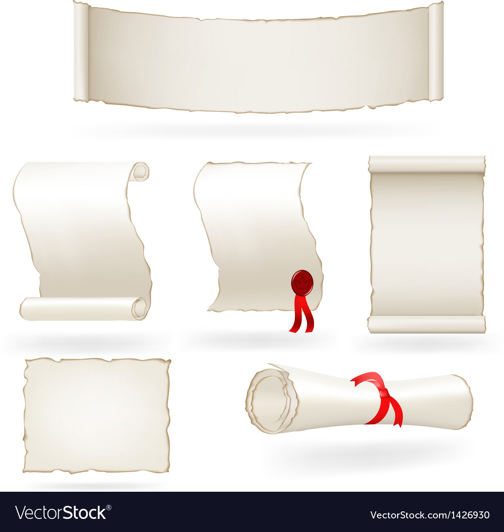 Set of old paper scrolls vector | Price: 1 Credit (USD $1)