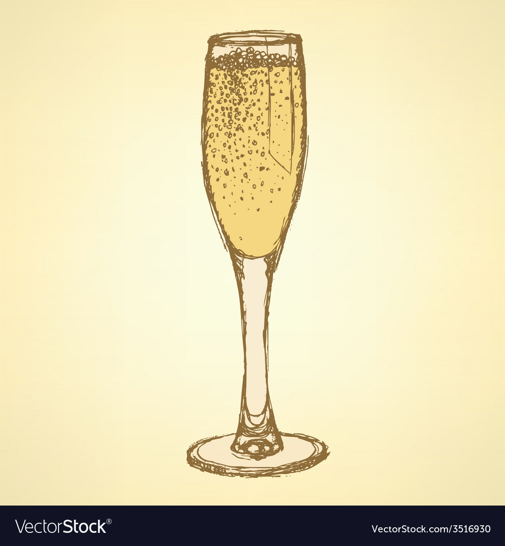 Sketch champagne glass in vintage style vector   Price: 1 Credit (USD $1)