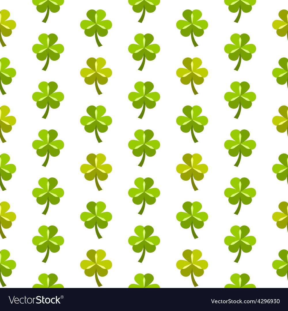 St patrick day seamless pattern with shamrocks vector | Price: 1 Credit (USD $1)