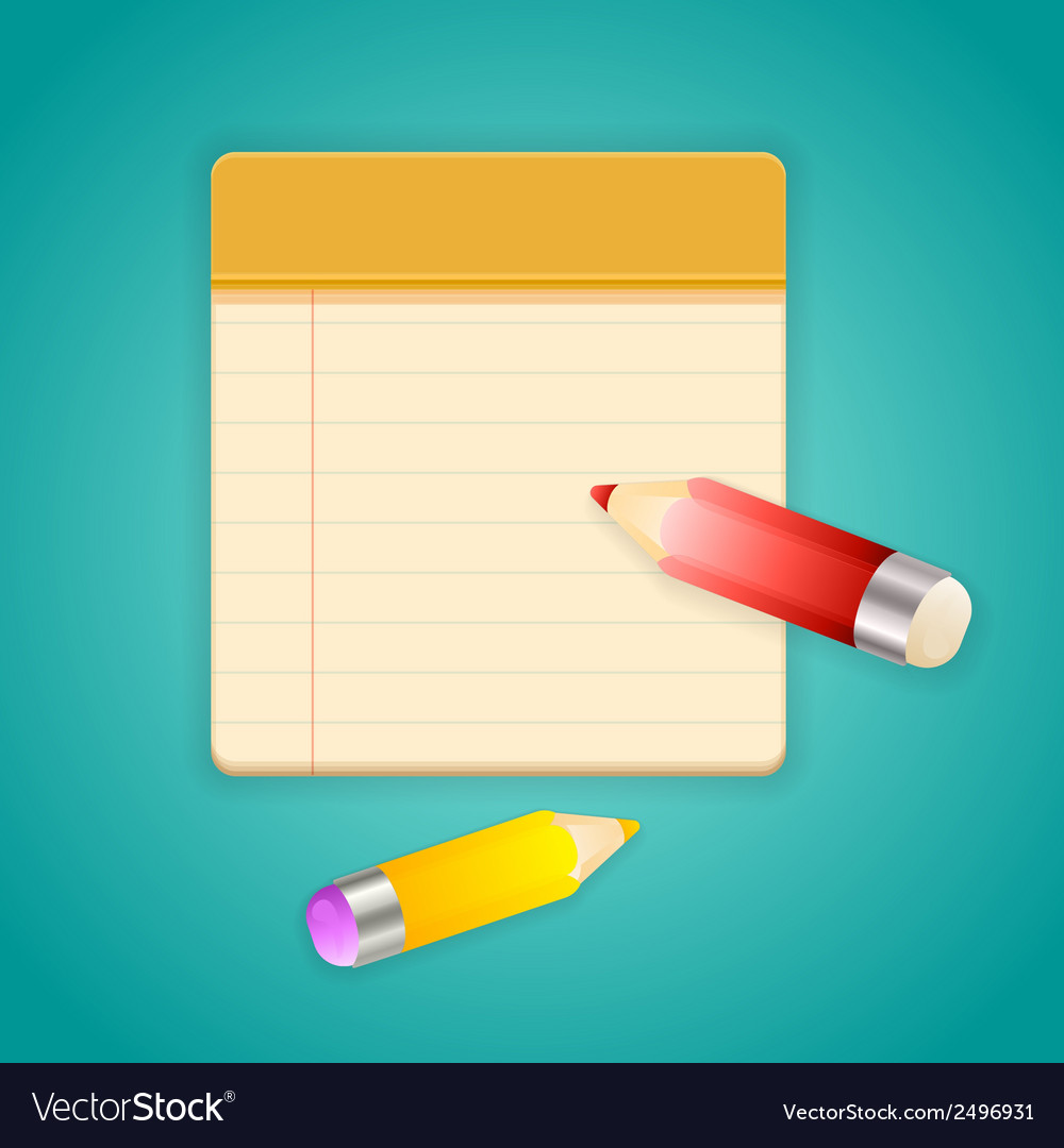 Colored pencils and simple lined notebook vector | Price: 1 Credit (USD $1)