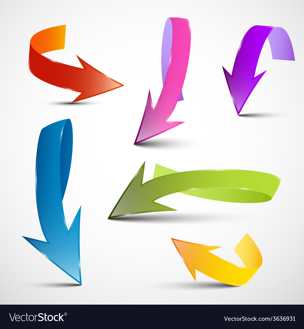 Colorful 3d arrows set vector | Price: 1 Credit (USD $1)