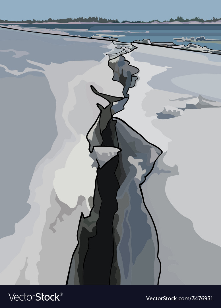 Crack in the ice ice drift on the river vector | Price: 1 Credit (USD $1)