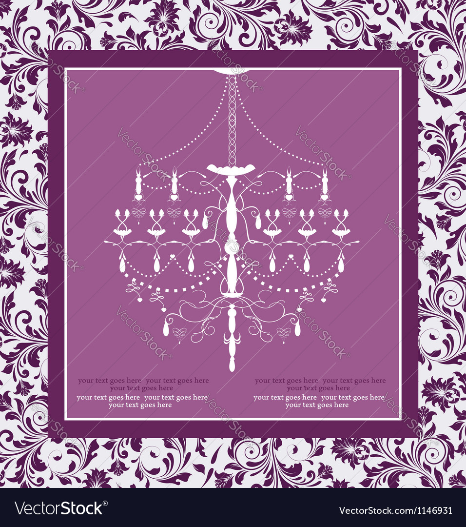 Purple vintage invitation wedding card vector | Price: 1 Credit (USD $1)