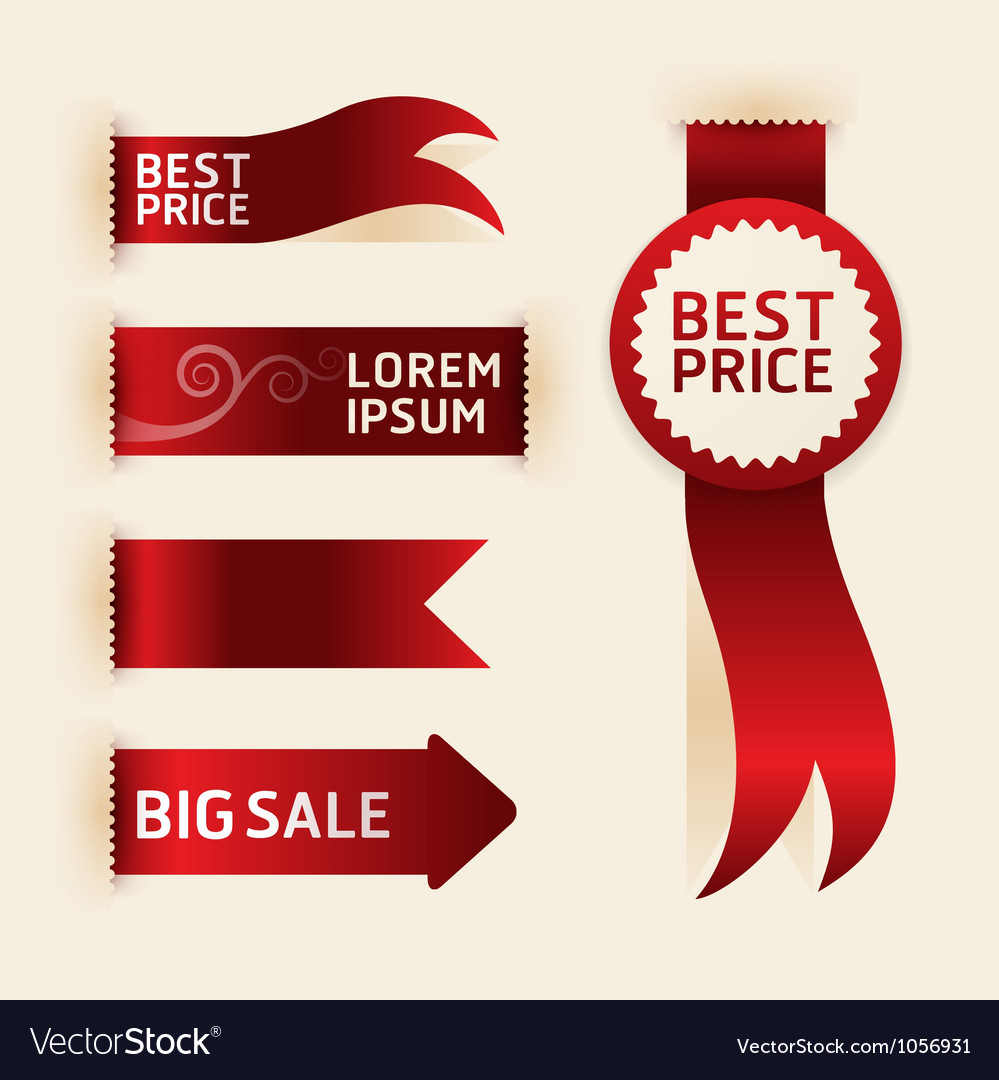 Red ribbon promotion products design vector | Price: 1 Credit (USD $1)