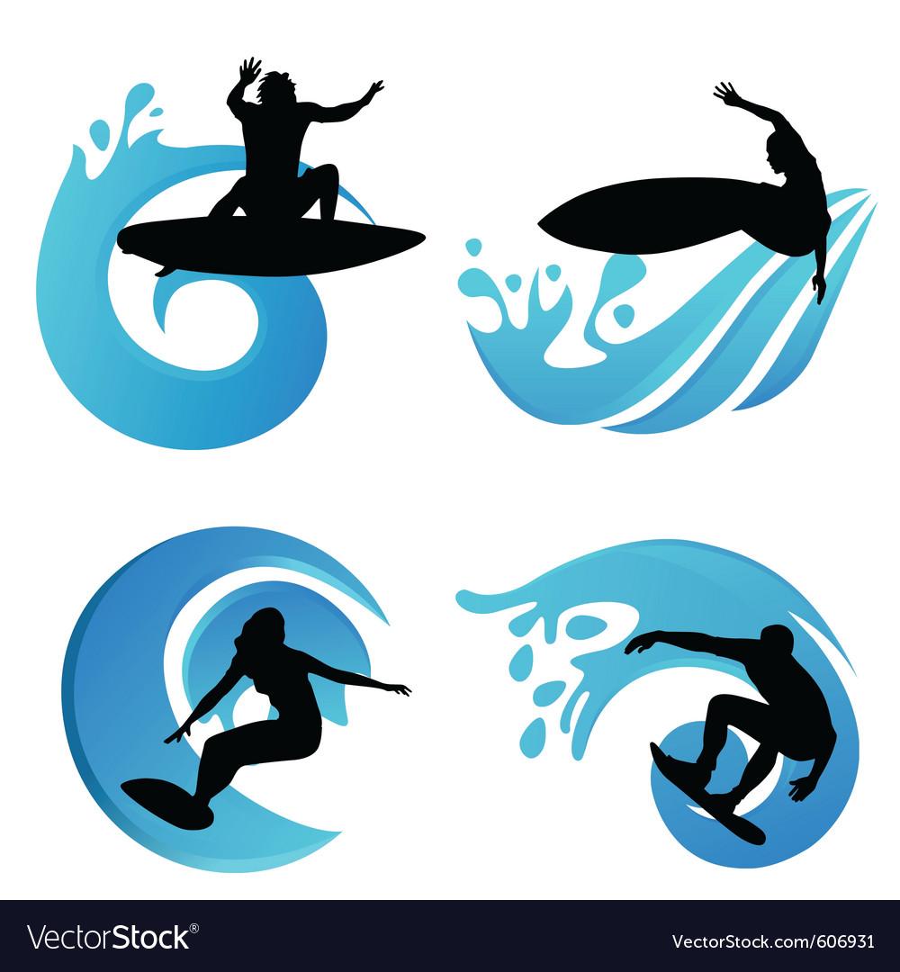Surfing symbols vector | Price: 1 Credit (USD $1)