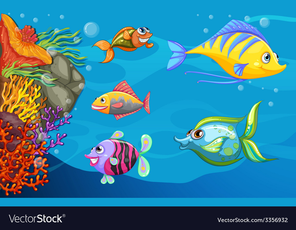 A school of fish under the sea vector   Price: 3 Credit (USD $3)