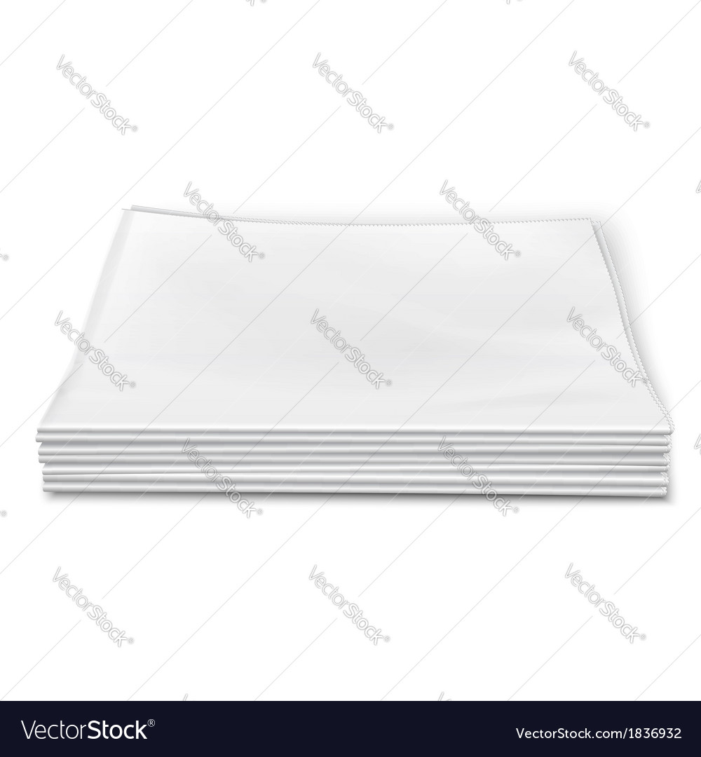 Blank newspapers pile on white background vector | Price: 1 Credit (USD $1)