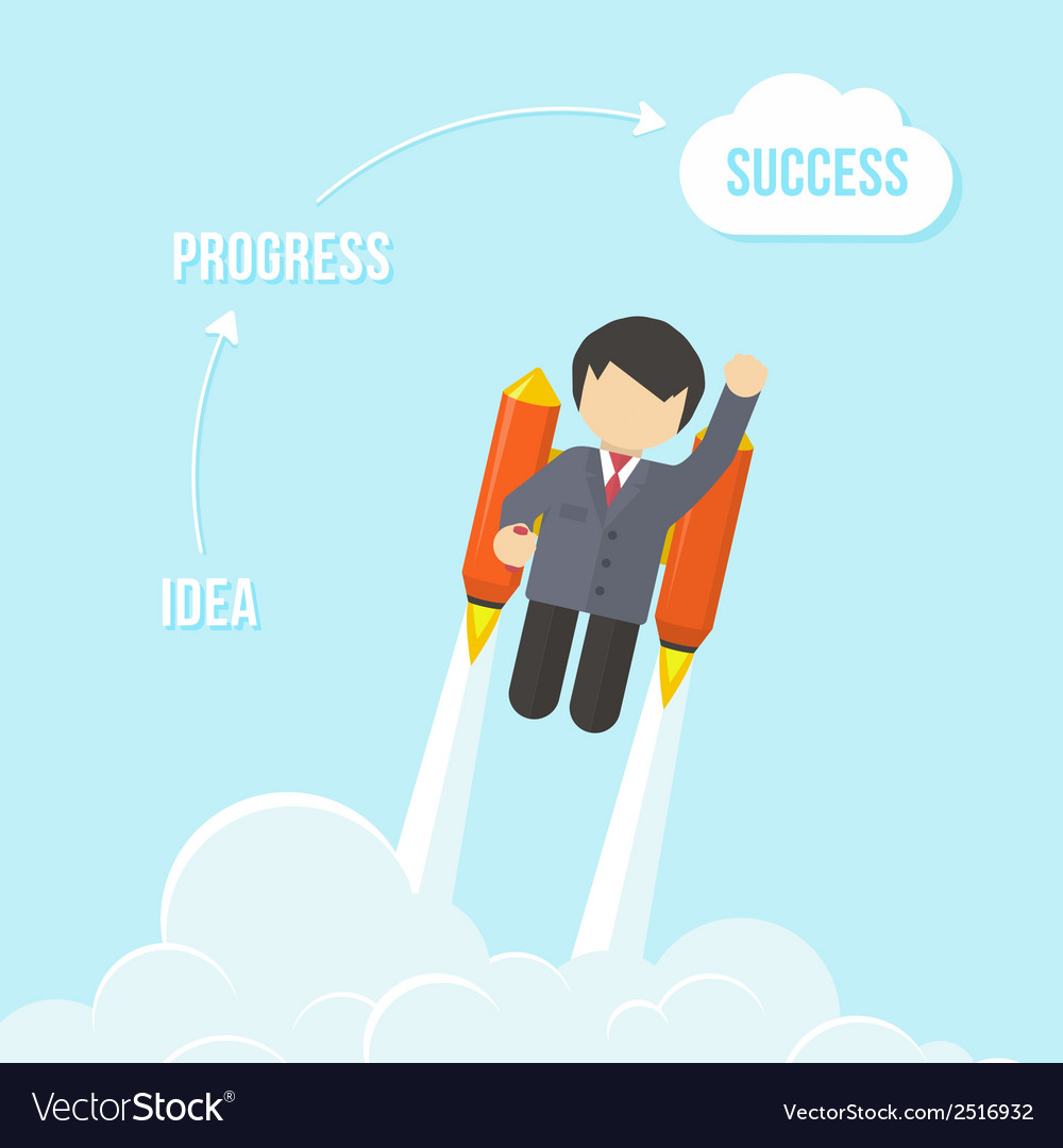 Businessman flying on the rocket to success vector | Price: 1 Credit (USD $1)